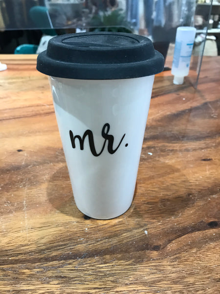 Mr. / Mrs. Ceramic Stoneware Travel Mugs