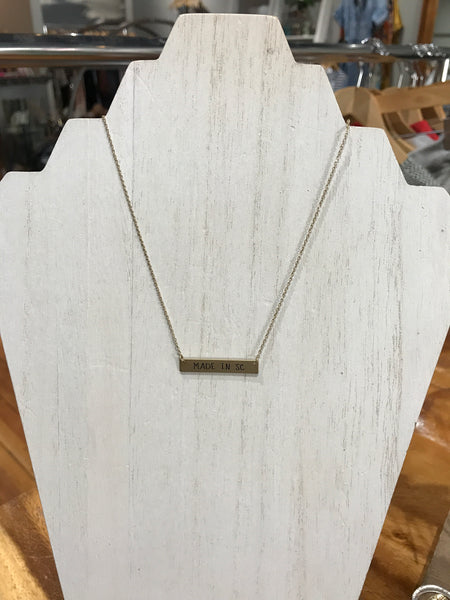 Made in SC Bar Necklace
