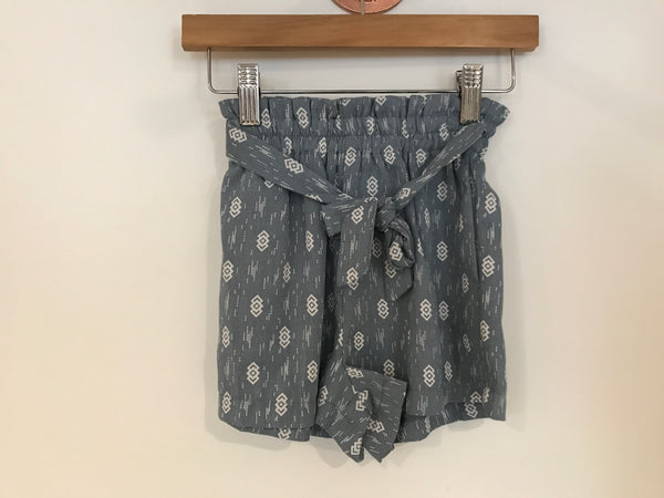Printed Paperbag Tie Short - Indian Blue
