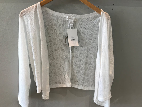 Slub Mesh Open Cardigan - White