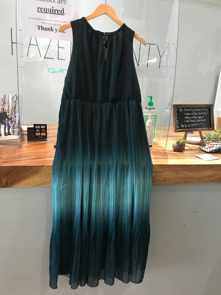 Ombre Grecian Neck Midi Dress - Emerald