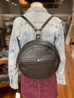 Round Leather Backpack