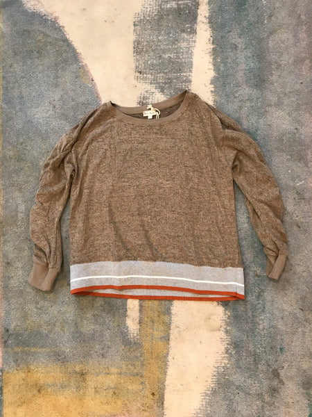 Cinched Sleeve Hacci Pullover Top - Mocha