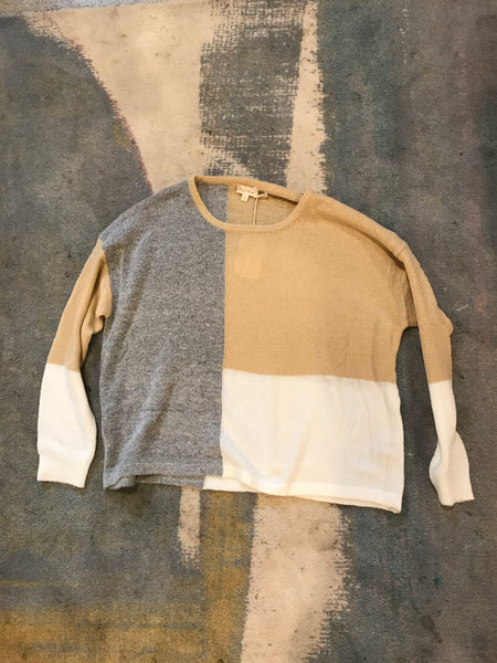 Color Block Bulky Sweater - Grey/Taupe/White