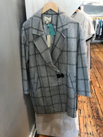 Herringbone and Plaid Coat - Grey