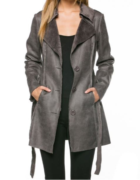 Sueded Jacket with Self Belt in Charcoal