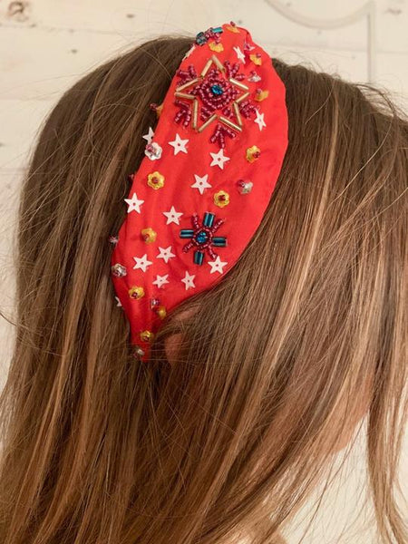 Lamins Beaded Headband - Red