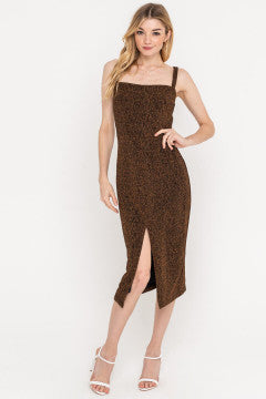 Copper Shimmer Midi Dress