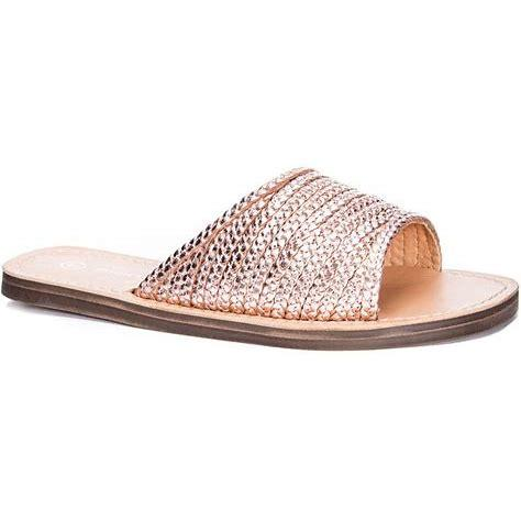 Moonshine Flat Sandal - Woven Rose Gold