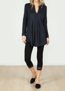 Long Sleeve Sueded V-Neck Tunic in Navy
