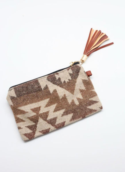 Nichols Aztec Pouch With Tassel - Taupe