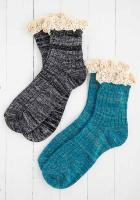 Crochet Ruffle Sock Set - Teal/Black