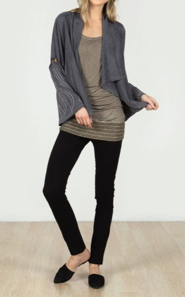 Embroidered Bell Sleeve Sueded Jacket