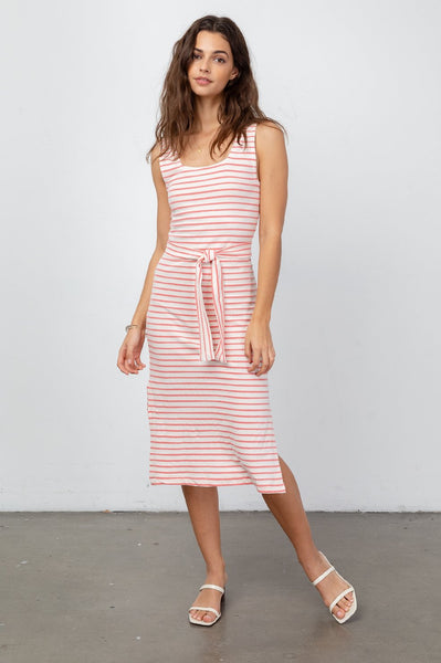 Taylin Dress - Ivory Peony Stripe