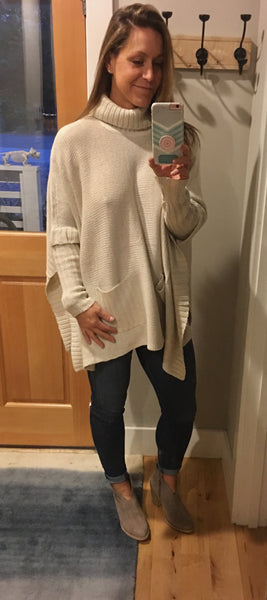 Natural Turtleneck Poncho with Pockets