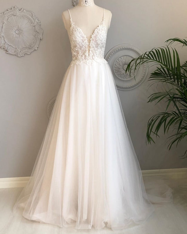 A Line V Neck Backless White Lace Prom Dresses, Backless White Lace Wedding Dress, Lace Bridesmaid Dresses