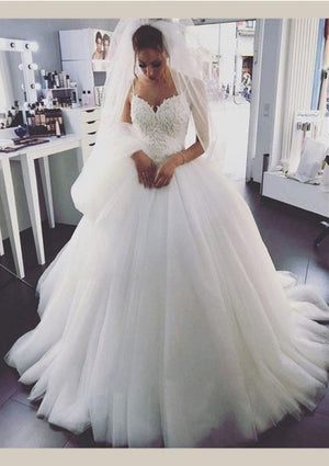 Tulle 2021 Ball Gown Wedding Dresses Spaghetti Straps