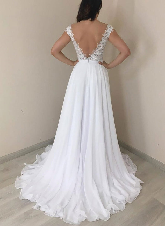 A Line Round Neck Backless White Prom Dresses, Backless White Wedding Formal Evening Dresses