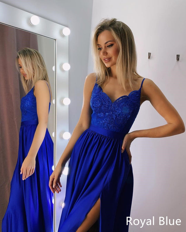 A Line V Neck Blue Lace Prom Dresses, Blue Lace Formal Evening Bridesmaid Dresses