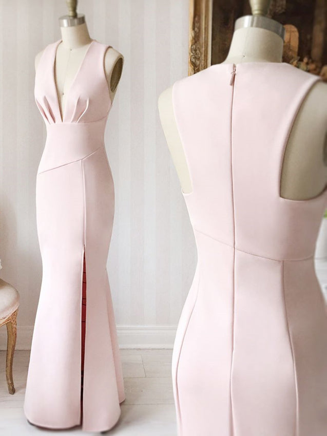 V Neck Pink Long Prom Dresses, Pink Long Formal Evening Bridesmaid Dresses