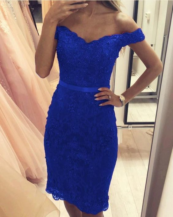 Royal Blue Lace Homecoming Dresses Off Shoulder