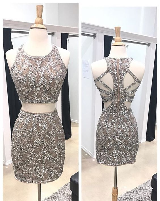 Two piece homecoming dresses, Beaded homecoming dresses, Sheath homecoming dresses, Open back homecoming dresses