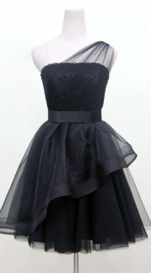 One Shoulder Black Short Tulle Homecoming Dresses Lace