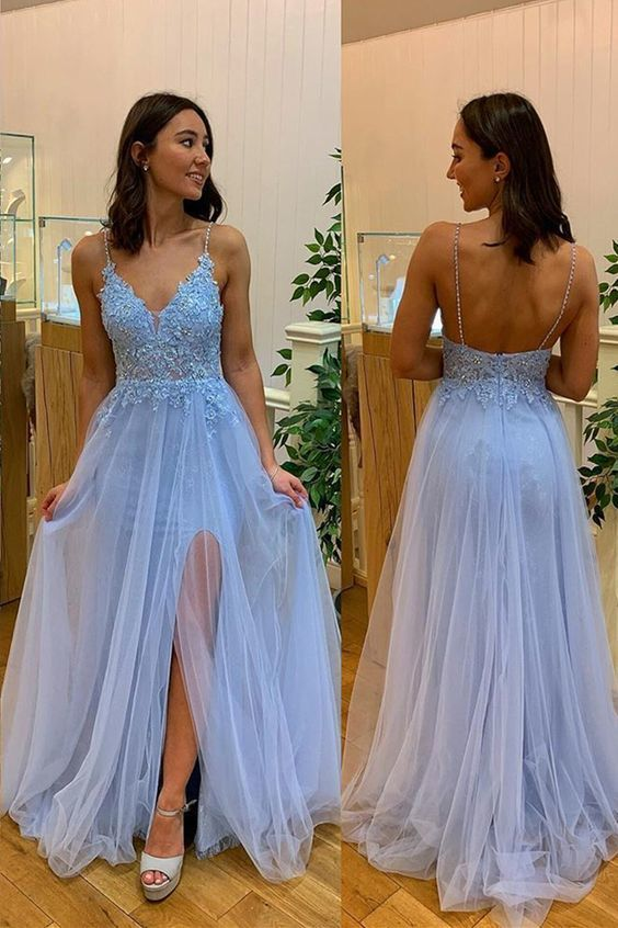 light blue long prom dress with side slit, 2020 prom dress with spaghetti straps