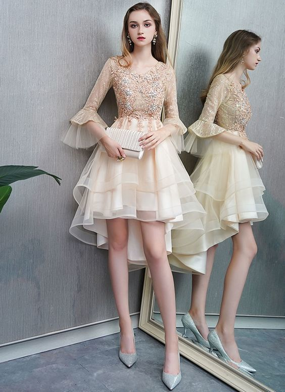 Ivory Tulle Beaded High Low Prom Dress, Homecoming Dress With Sleeve
