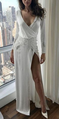 Charming Long Sleeve V-Neck Backless Applique Sexy Slit Wedding Dresses