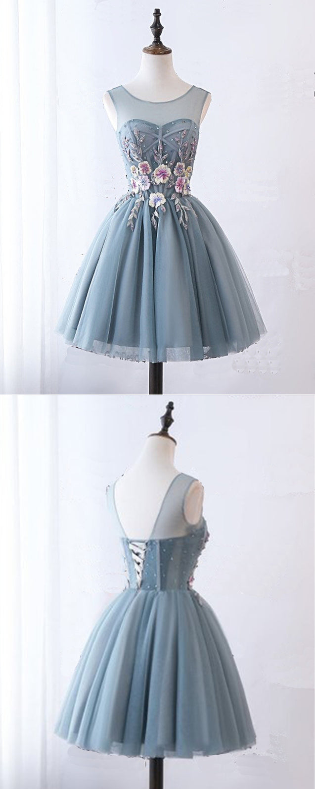 Blue Gray Tulle Short Halter Prom Dress, Homecoming Dress With Lace Applique
