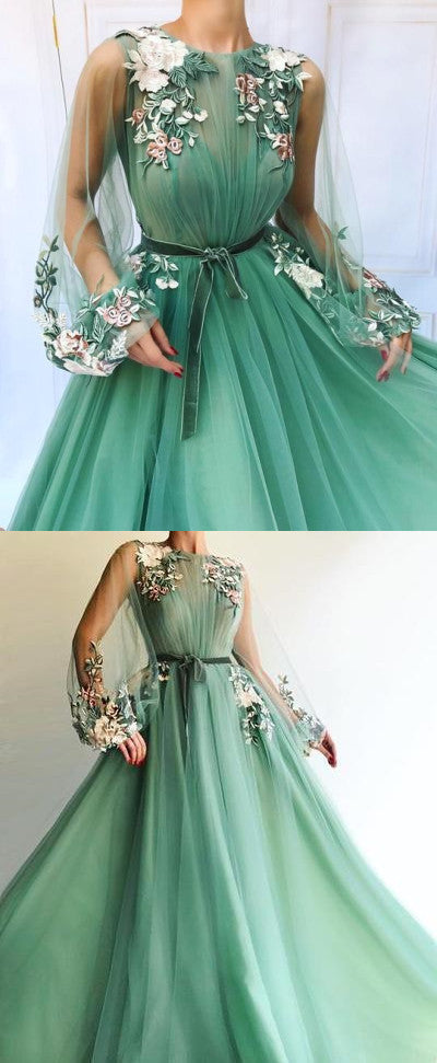 Sexy Long Sleeve Tulle A-Line Prom Dresses Sweetheart Applique Evening dress cheap hot dress