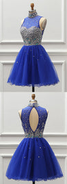 Royal Blue Tulle Short Beaded Prom Dress, Homecoming Dress