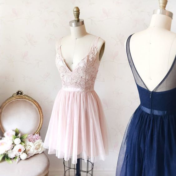 Princess V Neck Tulle Prom Dress, Elegant Lace Short Homecoming Dress