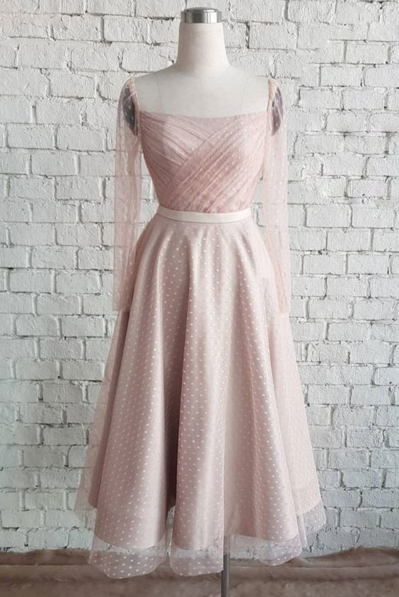 Cute Pink Tulle Mid Length Prom Dress, Bridesmaid Dress With Sleeve