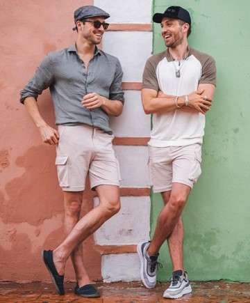 Men in shorts and polo t shirt and dress shirt