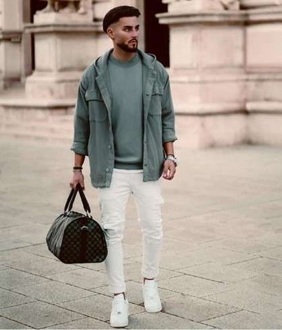 Male Model in Green shirt and jacket with White pants