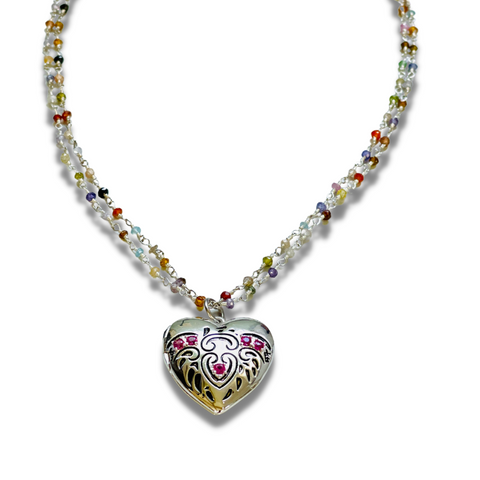 Ruby Heart Locket Necklace