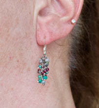 Load image into Gallery viewer, Onyx, Peridot, Garnet Cluster Drop Earrings