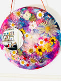 Dried Flower Mirror Wall Hanging