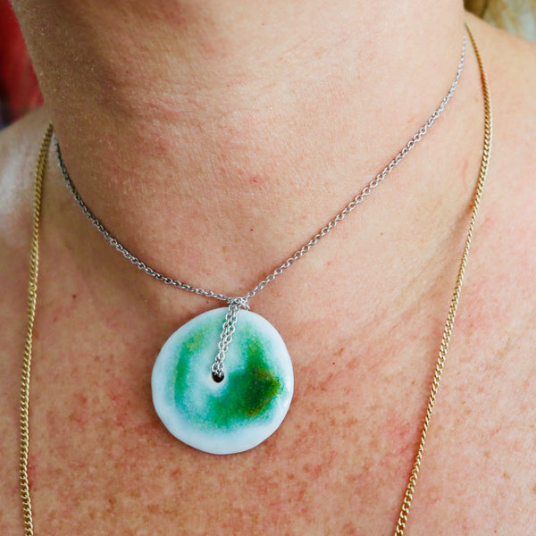 One of a Kind Cermaic Donut Disc Necklace