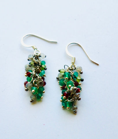Onyx, Peridot, Garnet Cluster Drop Earrings