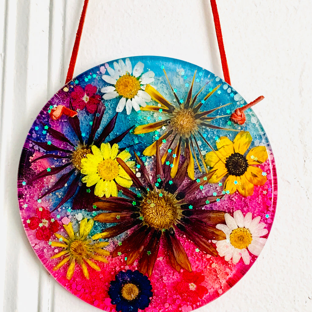 Dried Flower Alcohol Ink Wall Hanging