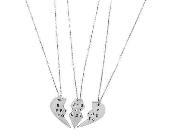 'Best Friends Forever' Broken Heart Necklace Set of 3