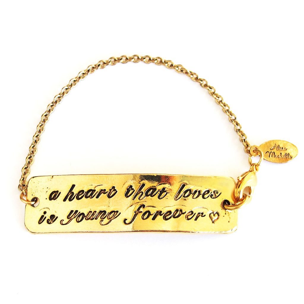 "'A Heart That Loves is Young Forever ♡"" Chain Bracelet"