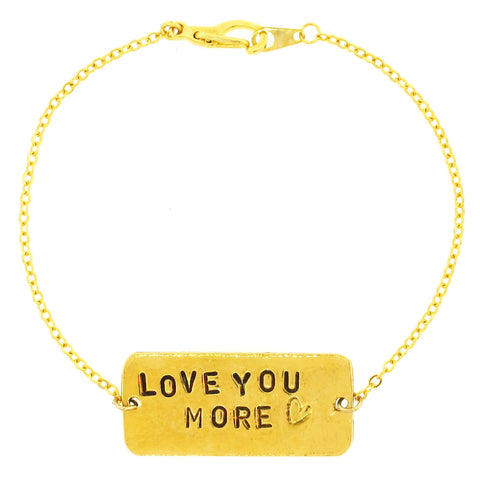 'Love You More ♡' Gold Chain Bracelet