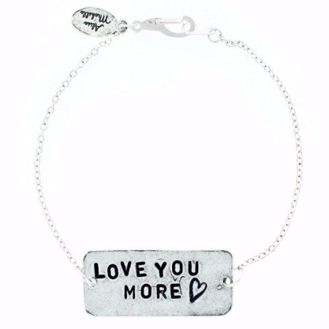 'Love You More ♡' Silver Chain Bracelet
