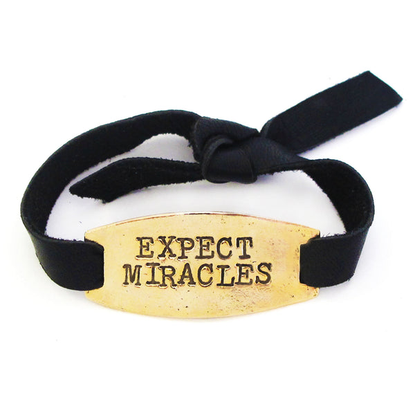 'Expect Miracles' Black Leather Bracelet