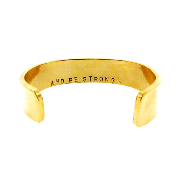 'Let Go/And Be Strong ♡' Double-Sided Gold Cuff