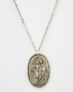 Dancing Nymphs Cameo Silver Necklace